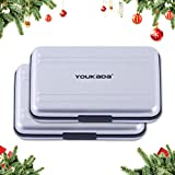 YOUKaDa Metal Memory Card Case Holder Water-Resistant Pocket-Sized SD Holder for 8 SD Cards & 8 Micro SD Cards (2 Pack-Silver)