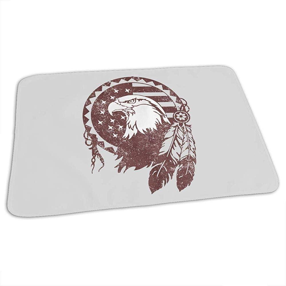 Bebé Cambiador,Símbolos Nativos Americanos Eagle Assistant Baby Almohadillas De Orina Para Niños Jugar Cochecito 65x80CM