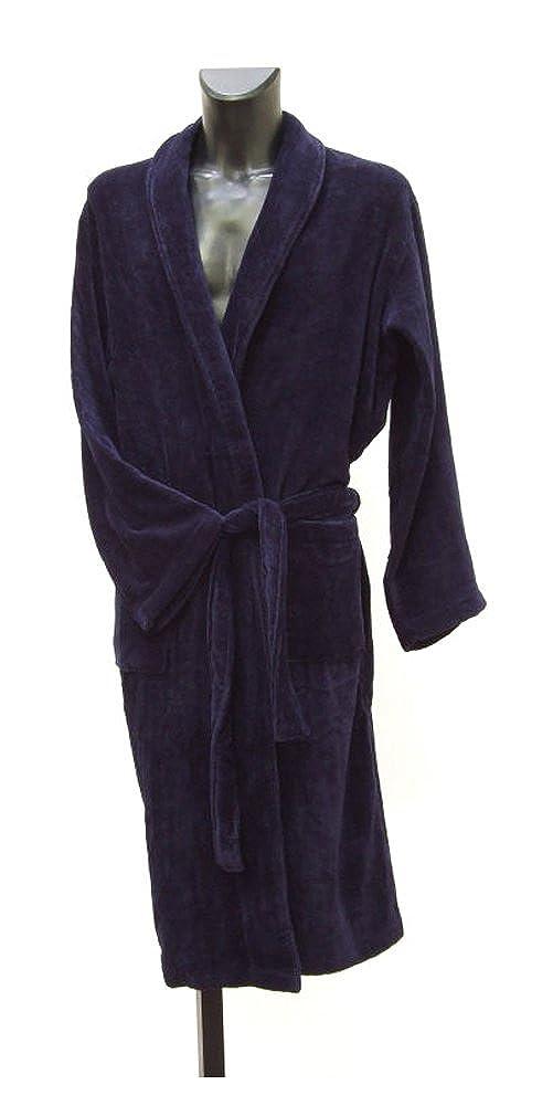 Men s Luxury Velour   Terry Towelling Dressing Gown - Navy Blue (Medium)   Amazon.co.uk  Clothing 70d353168