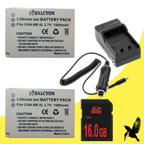Two Halcyon 1500 mAH Lithium Ion Replacement Battery and Charger Kit + 16GB SDHC Class 10 Memory Card for Canon PowerShot SD800 IS 7.1 MP Digital Camera and Canon NB-5L