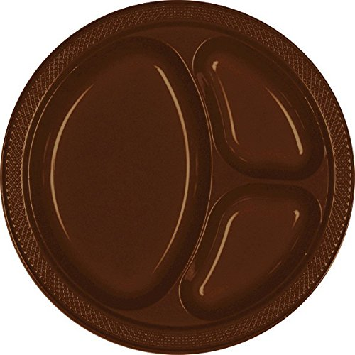 Amscan Chocolate Brown Divided Plastic Plates |Party Supply | Pack of 20 | 10.25