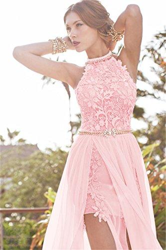 Damen Chiffon mit Maxikleider Ballkleider Babyonline® mit Sommer Spitzen Schlitz Rosa Abendkleider Zdf5wx1q