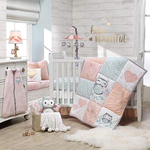 Crib Bedding Bundle Set - Lambs & Ivy Sweet Owl Dreams Pink Heart Nursery 6-Piece Baby Crib Bedding Set
