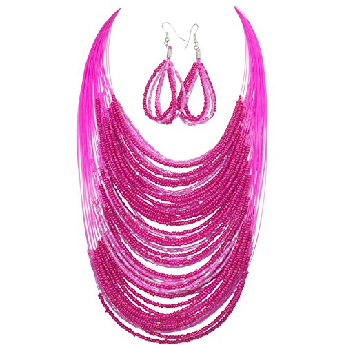 (Layered Seed Bead Illusion Thread Bib Statement Necklace & Dangle Earrings Set (Bright Pink))