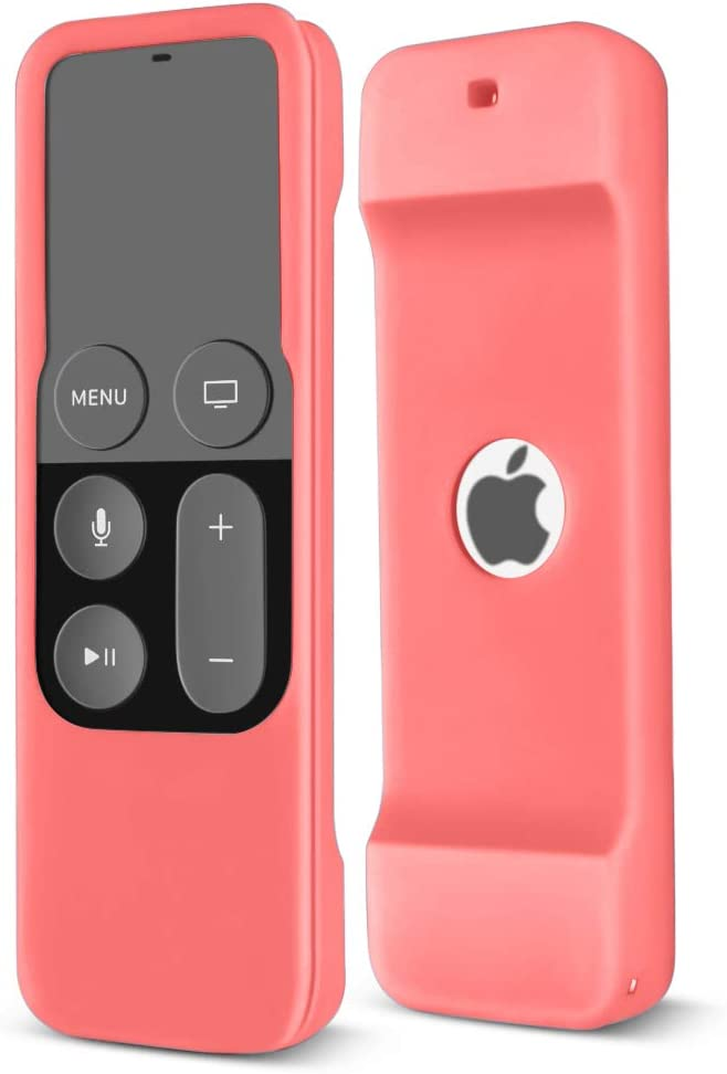 TNP Apple TV 4 Remote Case - Protective Soft Silicone Case Cover Skin for New Apple TV 4th Generation 64GB/32GB Remote Control Controller with Lanyard Handle Strap (Pink)