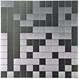 "Art3d Peel and Stick Tile Aluminium Backsplash Mosaics, 12"" X 12"" Silver"