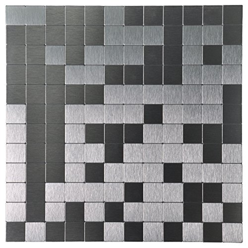 Metal Mosaic Tile - Art3d 10-Piece Metal Backsplash Tile Peel and Stick Mosaics, Silver Brushed Chips