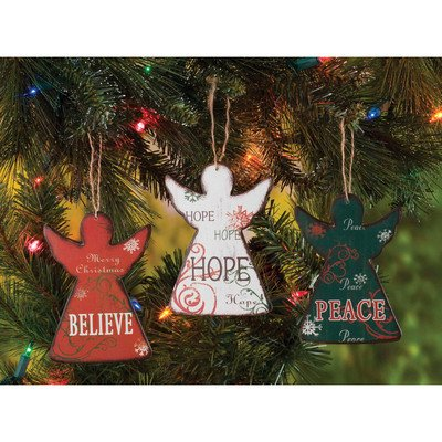 Wooden Angels Ornament Trio - Angel Trio