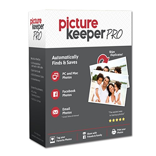 Smart USB Backup Drive 500GB - Picture Keeper PRO External Photo Video and File Backup Device for PC and MAC Laptops and Computers Photo Laptop
