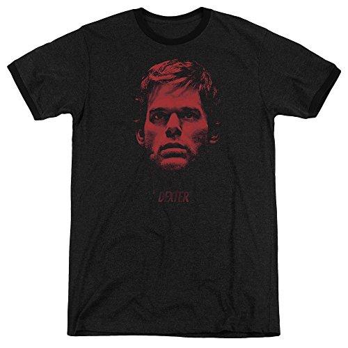 Dexter Bloody Face Mens Adult Heather Ringer Shirt Black (Dexter Ringer)