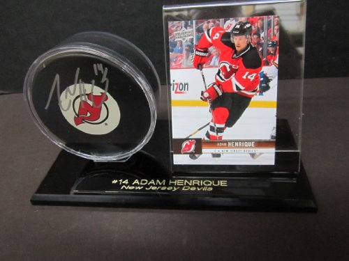 New Jersey Devils Adam Henrique AUTOGRAPHED Hockey Puck in Custom Engraved Puck & Card Holder