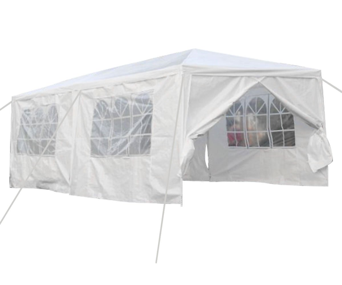 Qisan Canopy tent carport 10 X 20-feet Carport with sidewalls, white(calm environment only)