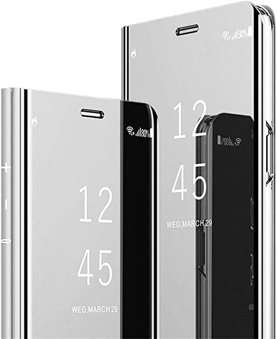 Mirror Flip Case Compatible with Samsung Galaxy S10 Plus 360 Degrees Full Protective Translucent Screen View PC+Leather Shockproof with Stand Cover Samsung S10 Plus