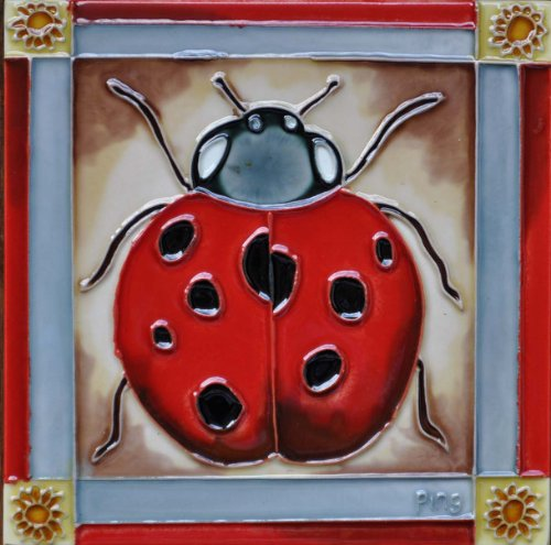 Continental Art Center BD-0342 8 by 8-Inch A Ladybug with Red Frame Ceramic Art ()