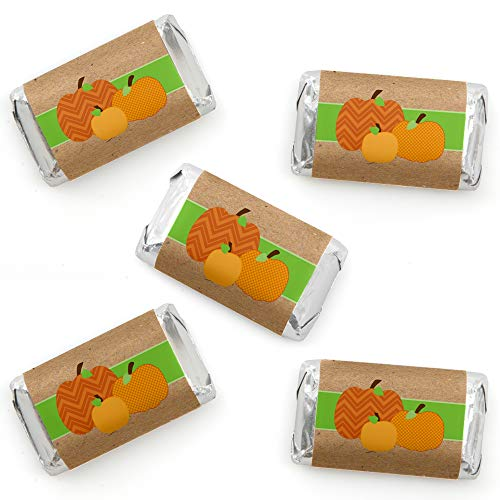Big Dot of Happiness Pumpkin Patch - Mini Candy Bar Wrapper Stickers - Fall and Thanksgiving Party Small Favors - 40 Count