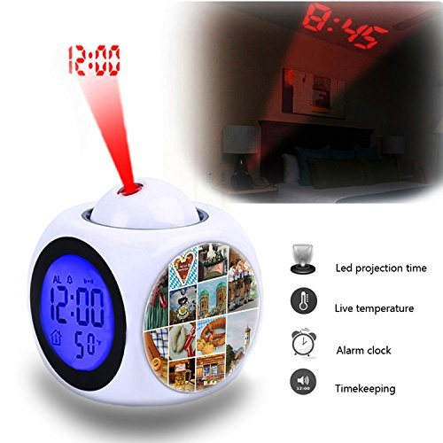 Projection Alarm Clock Wake Up Bedroom with Data and Temperature Display Talking Function, LED Wall/Ceiling Projection,Customize the pattern-505.Bavarian Bavaria Munich Oktoberfest - Munich Clock
