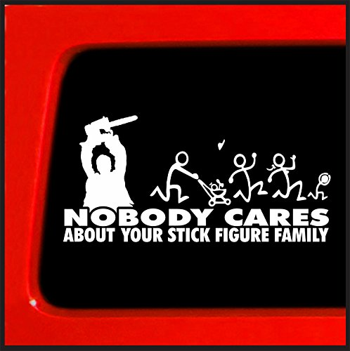 Chainsaw Stick Figure Family Vinyl Sticker Decal - Nobody Cares truck funny stickers car decal bumper *