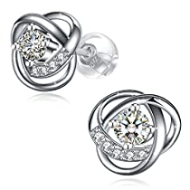 "Sterling Silver Earrings for Women,3A Cubic Zirconia Stud Earrings GUNDULA Fine Jewelry Gift Packed ""Flower Language"""