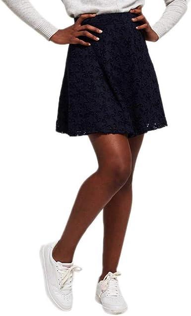 Superdry Imogen Star Lace Skater Jupe Femme Eclipse Navy XS