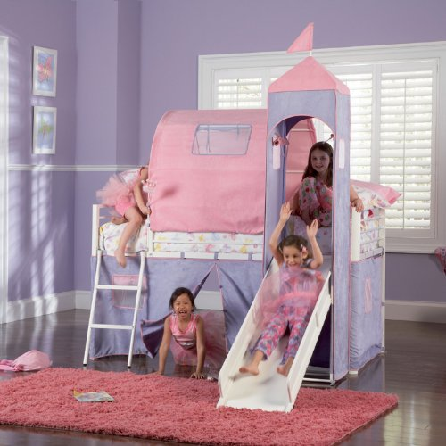 Powell White Twin Bedroom In A Box: Powell Princess Castle Twin Tent Bunk Bed With Slide