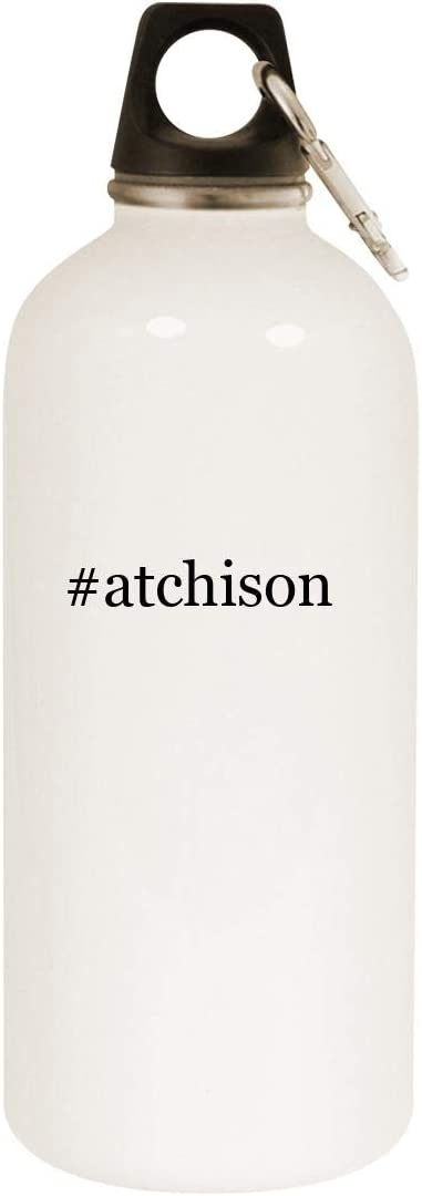 #atchison - 20oz Hashtag Stainless Steel White Water Bottle with Carabiner, White