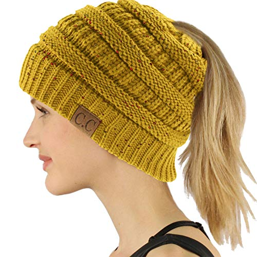 Ponytail Messy Bun BeanieTail Soft Winter Knit Stretchy Beanie Hat Cap Confetti Mustard