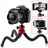 Flexible Mini Travel Tripod for DSLR Camera, GoPro, iPhone, Android Smartphone, Vlogging Cam – Small Heavy Duty Gorilla Stand 360° Rotatable Swivel Mount