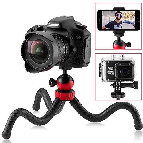 Flexible Mini Travel Tripod for DSLR Camera, GoPro, iPhone, Android Smartphone, Vlogging Cam – Small Heavy Duty Gorilla Stand 360° Rotatable Swivel Mount by Sturdy Tiger