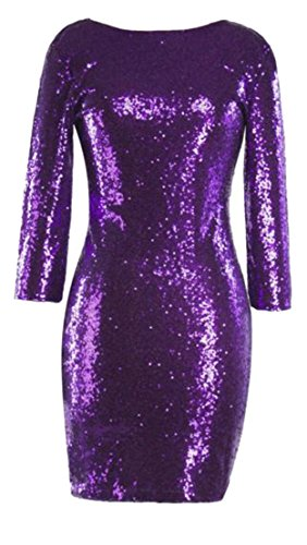 Purple 4 Sleeve Womens 3 Bodycon Crewneck Club Sequins Pencil Cromoncent Dresses vgwFqPTF