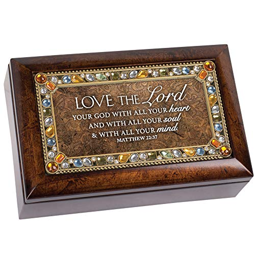 Cottage Garden Love Lord with Heart Soul Mind Amber Jeweled Petite Music Box Plays Amazing Grace