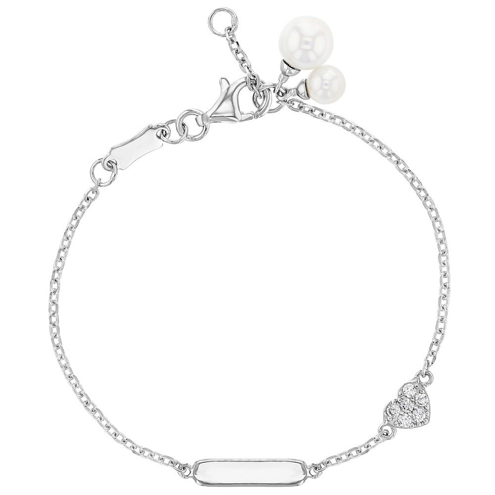 925 Sterling Silver Clear CZ Heart Simulated Pearl Adjustable Tag ID Bracelet Girls 5.5 In Season Jewelry SS-02-00019