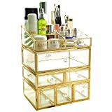Hersoo Large Mirror Glass Top Dresser Make Up Organizer Jewelry &Cosmetic Display, Stackable Cube 6 Drawers Set Dresser Storage for Vanity with Lid,Bathroom Accessories Brushes Container (03setg)