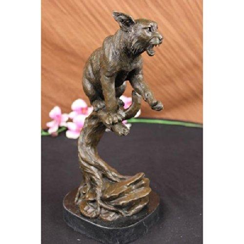 Signed Loet Vanderveen Lynx Wild Cat Rock Bronze sculpture Marble Base