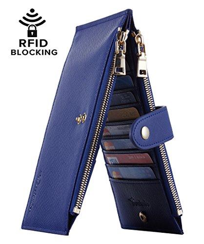 Travelambo Womens Walllet RFID Blocking Bifold Multi Card Case Wallet with Zipper Pocket (CH Blue Purplish 6019)
