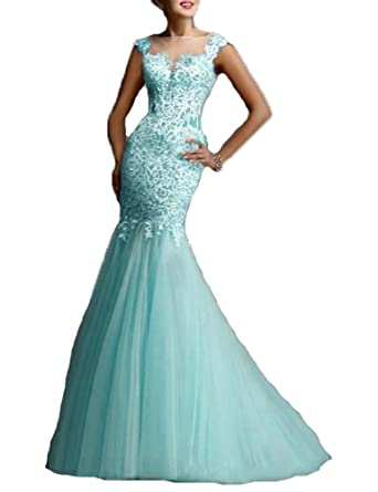 BessDress Illusion Bateau Prom Dresses Mermaid Evening Formal With Lace Applique BS197