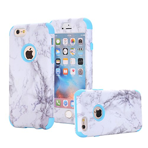 iPhone 6 Case, iPhone 6S Case, SUMOON [Drop Protection] Hybrid Heavy Duty Three Layer Verge Shockproof Full-Body Protective Armor Defender Case for iPhone 6 6s 4.7 Inch (Marble Blue)