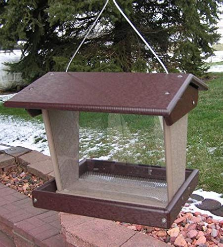 DutchCrafters Amish Poly Large Outdoor Bird Feeder Made in America (Brown & Weatherwood)