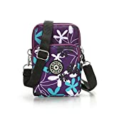 Multifunction Travel Phone Pouch Portable 3 Layers Zipper Closure Waterproof Nylon Wristlet Bag Clutch Handbag Purse Cash Keys Smartphone pouch Holder (Flower)