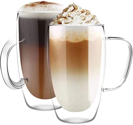 Double Wall Glass mugs Thermo Insulated Cups with Handle Clear Espresso Latte