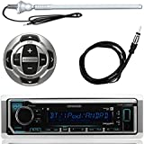Kenwood MP3/USB/AUX Marine Boat Yacht Stereo Receiver Player Bundle Combo w/ RC35MR Wired Remote Control, Enrock Water Resistant 22 Radio Antenna, Outdoor Rubber Mast AM/FM 45 Antenna
