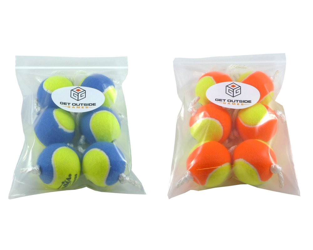 Get Outside Games Texas Toss Ball Kit - Tennis Balls for Ladder Toss/Ladder Golf/Hillbilly Golf (Blue & Orange Ball Kit)