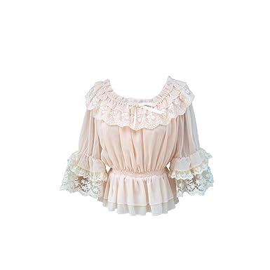 e2636adfa8b797 Smiling Angel Chiffon Ruffle Lace Sweet Half Sleeve Victorian Lolita White/Apricot/Black  Blouse at Amazon Women's Clothing store: