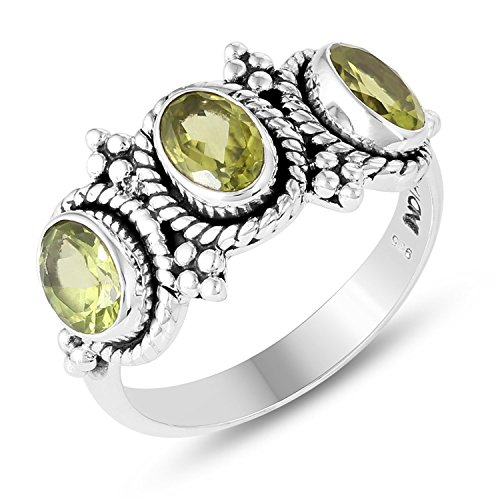 Stone Ring Peridot Genuine (Genuine Gemstone .925 Sterling Silver 3-Stone Peridot Ring)