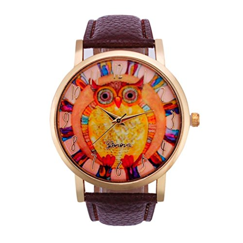 Owl Pattern,Baomabao Leather Band Analog Quartz Vogue Watch for Women Ladies Girls Gift_Brown