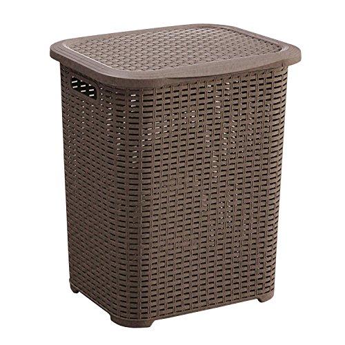 SCHÄFER Wäschekorb- Wäschebox - Wäschetruhe Rattan aus Kunststoff sales by JOLTA® (45 L Braun)