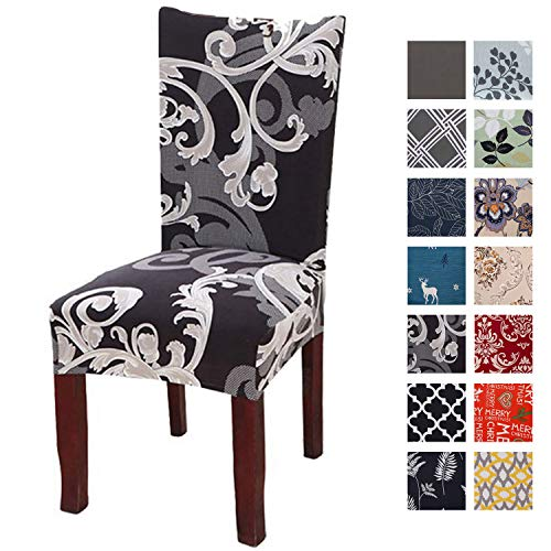 Printed Dining Chair Slipcovers, Removable Washable Soft Spandex Stretch Chair Covers Banquet Chair Seat Protector Slipcover for Kitchen Home Hotel (Set of 4, Black)