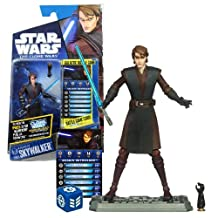 Hasbro Year 2010 Star Wars The Clone Wars Galactic Battle Game Series 4 Inch Tall Action Figure - CW45 ANAKIN SKYWALKER with Blue Lightsaber, Interchangeable Robotic Arm, Battle Game Card, Die and Figure Display Base