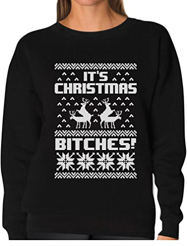 It's Christmas Bitches Ugly Sweater Humping Reindeer Funny Women Sweatshirt Medium Black (Ugly Christmas Sweater Contest Ideas)