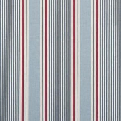 Clarke y Clarke Sail diseño de rayas azul marino algodón Material de tejido se vende por