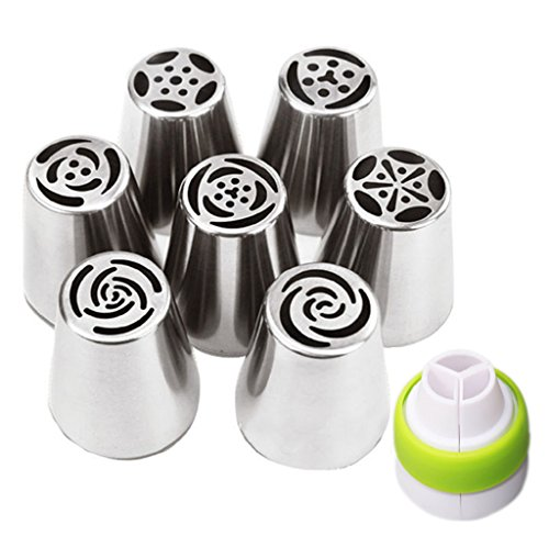 7pcs Russian Tips + 1 Coupler Icing Piping Nozzles Cake Decoration Tips Tulip Rose Nozzle Tip Large Size ()